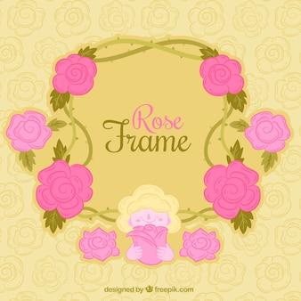 ピンクの花で作られたかなりのフレーム