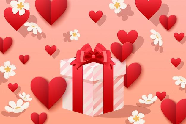 愛のイラストで作るかわいいギフトボックス。ストライプラッパーのスクエアボックス、繊細な漫画の弓、パッケージギフト