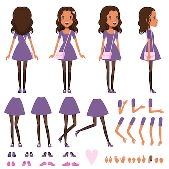Pretty girl in dress with small handbag for animation