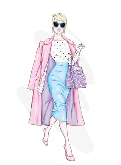 Pretty girl in fashionable clothes.  illustration.