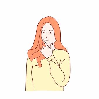 Красивая девушка жестикулирует рукой, интересно концепции в рисованной