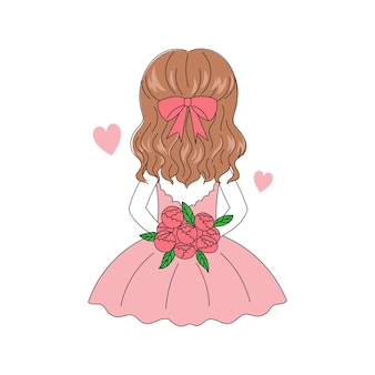 Pretty girl hair holding a bouquet of roses flower from back side. happy valentine day. hand drawn