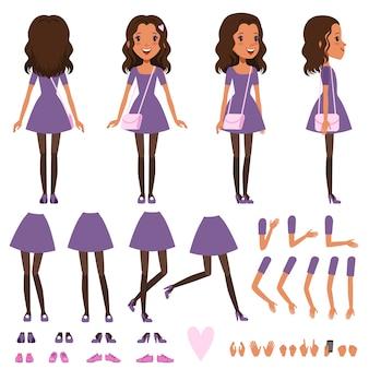 アニメーションの小さなハンドバッグとドレスのかわいい女の子