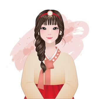 Красивая девушка в традиционном корейском портрете одежды ханбок