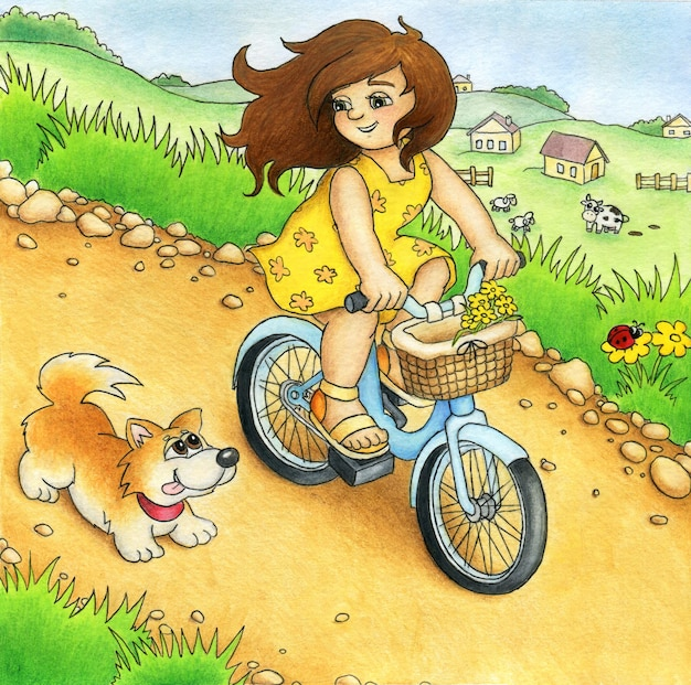 Pretty girl is riding a bicycle on a country road on a beautiful summer day