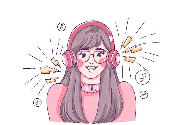 音楽を聴くかわいい女の子