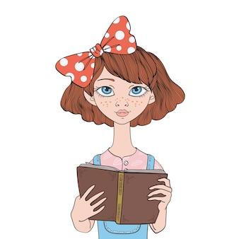 本を読んでいるかわいい女の子。若い女性。図では、白い背景で隔離。
