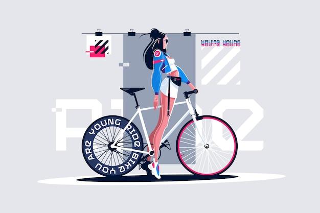 Pretty girl on roadbike vector illustration.