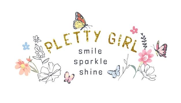 カラフルな花と蝶のイラストとかわいい女の子のスローガンゴールドラメ