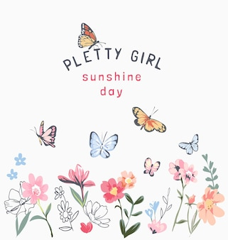 カラフルな花と蝶のイラストとかわいい女の子のスローガン