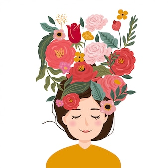 Pretty girl with blooming flower in head.