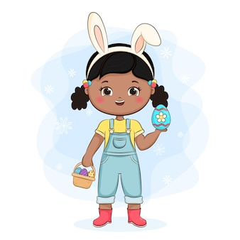 토끼 귀와 바구니 예쁜 여자