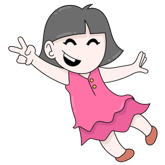 Красивая девушка с короткими волосами веселится, приветствуя курортный сезон, векторные иллюстрации. каракули изображение значка каваи.