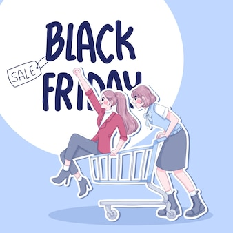 Pretty girls are happy with shopping cartoon characters illustration