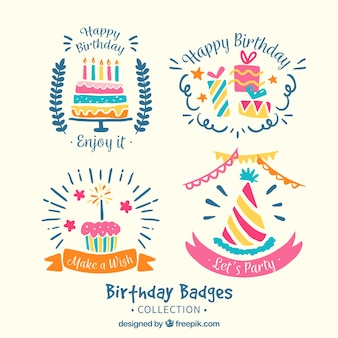 Pretty hand drawn birthday stickers
