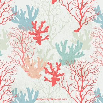Pretty hand drawn colored seaweeds background