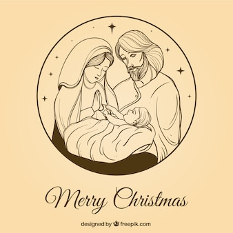 Pretty hand-drawn nativity scene background