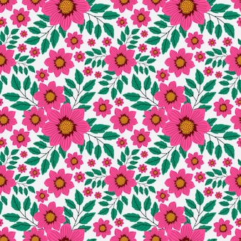 Pretty hand drawn pink flowers hand drawn floral pattern