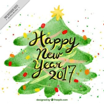 水彩クリスマスツリーのかなり幸せな新年の背景