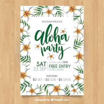 Pretty hawaiian party poster with watercolor flowers