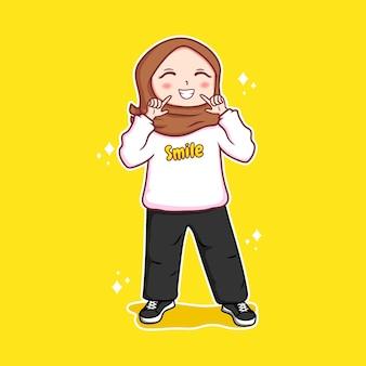 Pretty hijab women with happy expression premium vector