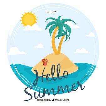 美しい島の背景に「こんにちは夏」