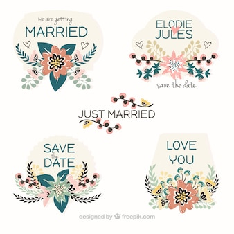 Pretty just married floral tags
