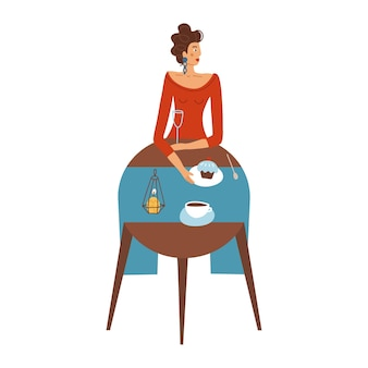 Pretty lady in red is eating in a restaurant alone trendy concept of single woman female character d...