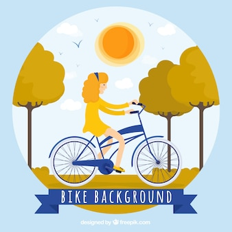 자전거와 여자의 예쁜 풍경 배경