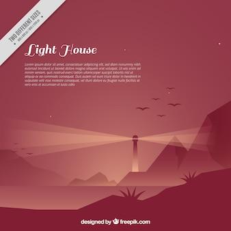 Довольно фон маяк, освещающий пейзаж