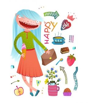 Pretty little girl fashion girlish design elements