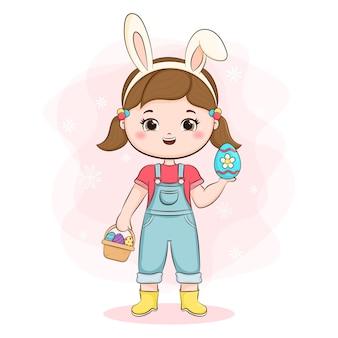 토끼 귀와 바구니 예쁜 소녀