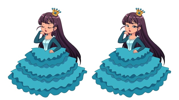 Pretty little princess with black hair and tan skin wearing cyan ball dress.  big cartoon head. opened and closed eyes versions. hand drawn vector illustration for prints, cards, children game.