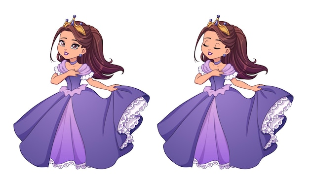 Pretty little princess with brown hair and tan skin wearing violet ball dress.  big cartoon head. opened and closed eyes versions. hand drawn vector illustration for prints, cards, children game.