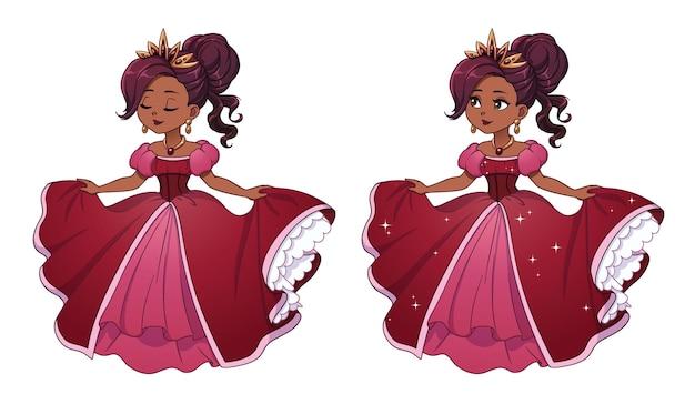 Симпатичная маленькая принцесса с темными волосами и загорелой кожей в красном бальном платье.
