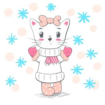 Pretty love cat illustration.