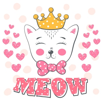 Pretty love cat illustration.