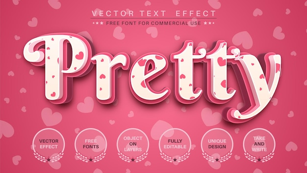 Pretty love editable text effect