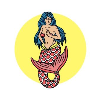 Pretty mermaid old school tattoo