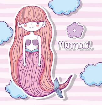 Pretty mermaid woman with flower and clouds