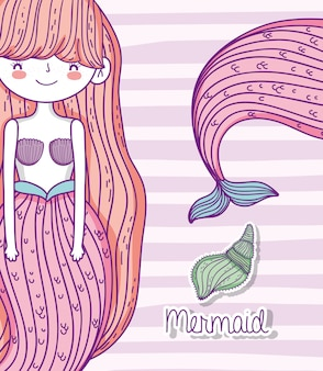 Pretty mermaid woman with hairstyle and shells