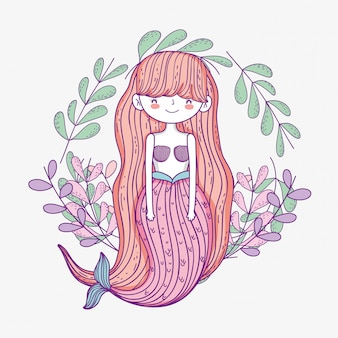 Pretty mermaid woman with leaves plants