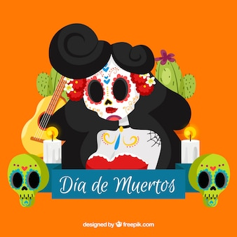 Pretty mexican skull background