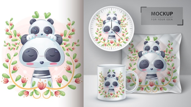 Pretty panda with baby  poster and merchandising