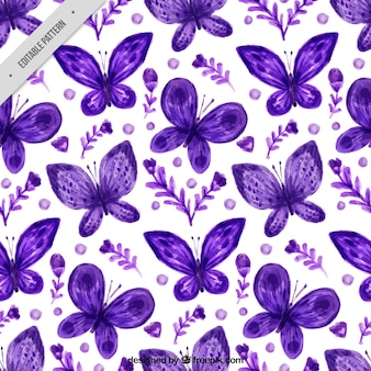 Pretty pattern of flowers and watercolor butterflies in purple color