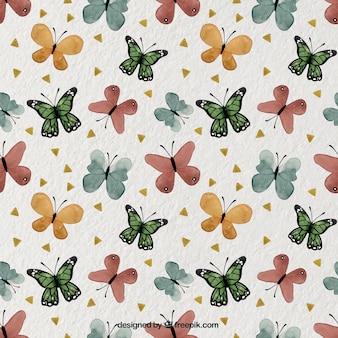 Modello graziosa con le farfalle acquerello