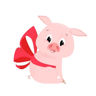 Pretty pig with bow