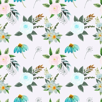 Pretty pink and blue floral seamless pattern