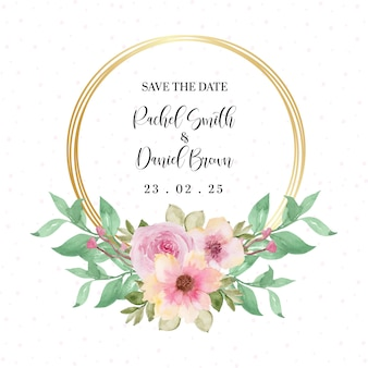 Pretty pink floral wreath with place your text