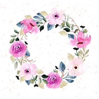 Красивый розовый цветок акварель венок